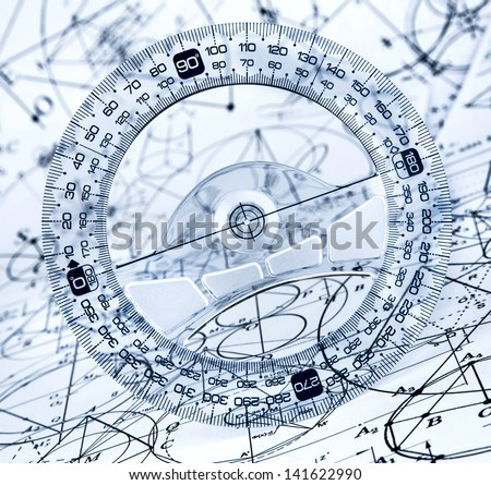 Protractor on the background of mathematical formulas and algorithms