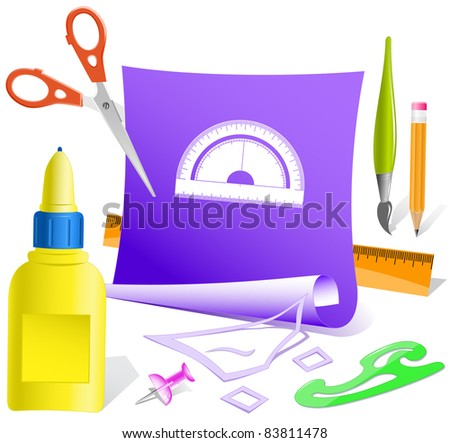 Protractor. Paper template. Raster illustration. - stock photo