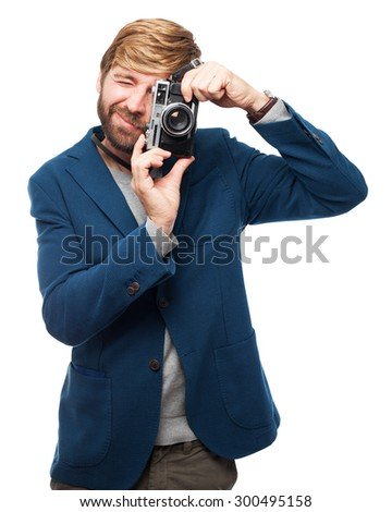 proud businessman with camera