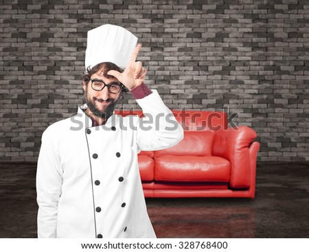 proud cook man loser sign