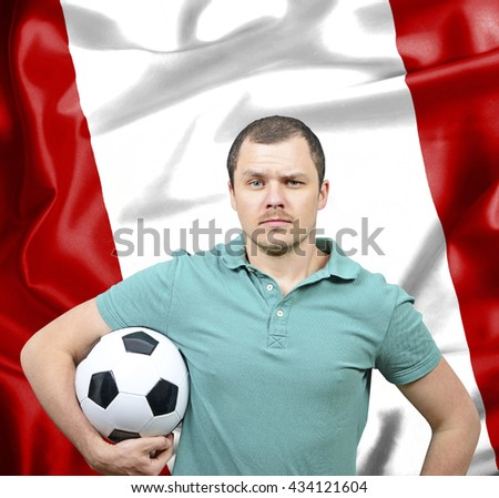 Proud football fan of Peru - stock photo