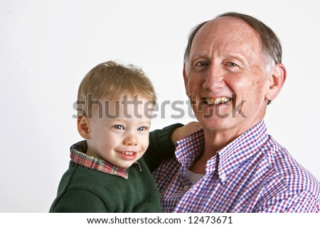Proud grandfather with grandson - stock photo
