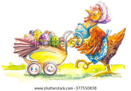 Proud Hen with stroller full of colorful Easter eggs. Picture created with watercolors. - stock photo