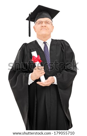 Proud mature student proudly holding his diploma isolated on white background