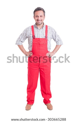 Proud mechanic, electrician or plumber standing isolated on white - stock photo