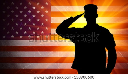Proud saluting male army soldier on grungy american flag background (Memorial day, Veteran's day, 4th of july, Independence day) - stock photo