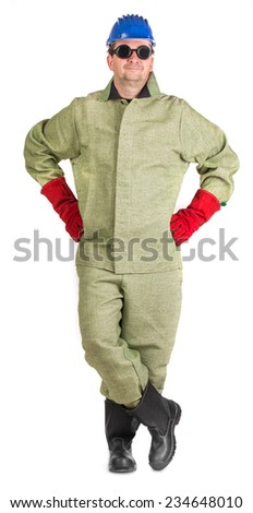 Proud welder in uniform. Isolated on a white background.