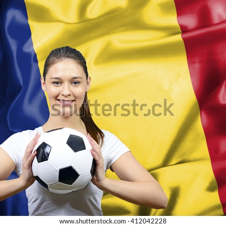 Proud woman football fan of Romania