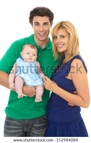 Proud young parents with baby girl isolated on white background - stock photo