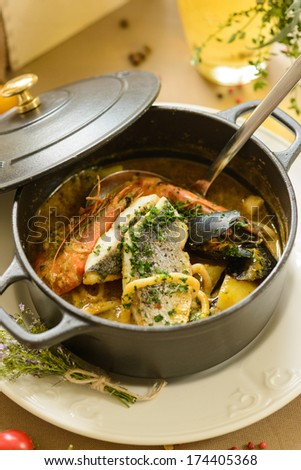 provance fish soup - stock photo