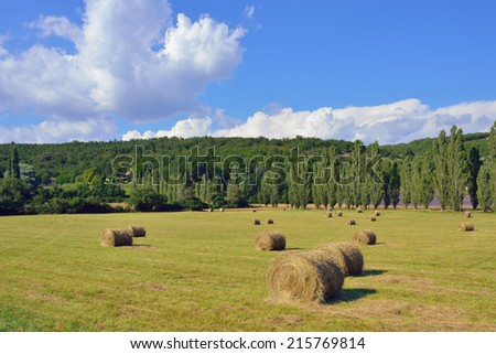 Provence landscape. Haystack on the rural field at evening time. France