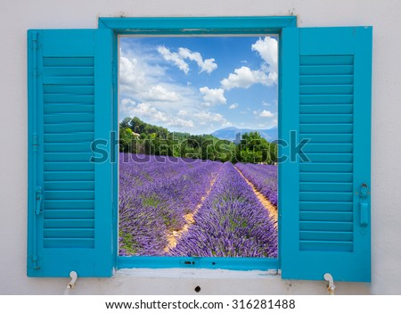 provence window with  lavender flowers field, France - stock photo
