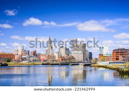 Providence, Rhode Island city skyline on the river. - stock photo