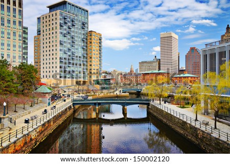 Providence, Rhode Island cityscape at Waterplace Park. - stock photo