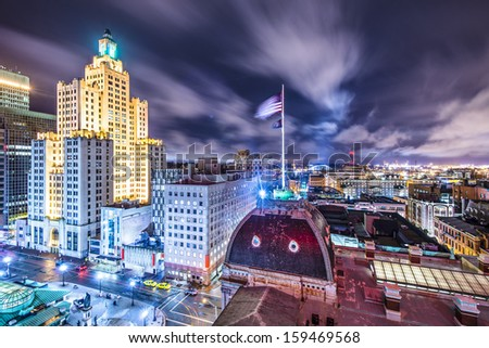 Providence, Rhode Island downtown cityscape viewed from behind city hall. - stock photo