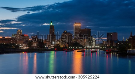 PROVIDENCE, RHODE ISLAND - JULY 23: Downtown Providence and the Providence River from the Point Street Bridge on July 23, 2015 in Providence, Rhode Island - stock photo