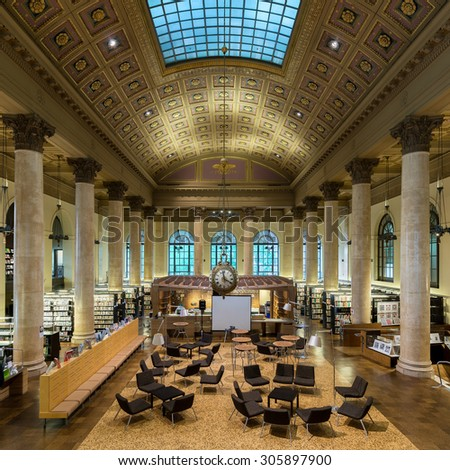 PROVIDENCE, RHODE ISLAND - JULY 24: Interior of the Rhode Island School of Design (RISD) library on July 24, 2015 in Providence, Rhode Island