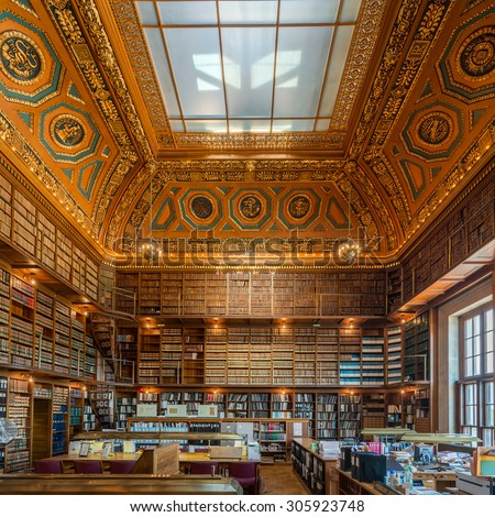 PROVIDENCE, RHODE ISLAND - JULY 24: Rhode Island State Library in the Rhode Island State House on Smith Street on July 24, 2015 in Providence, Rhode Island - stock photo