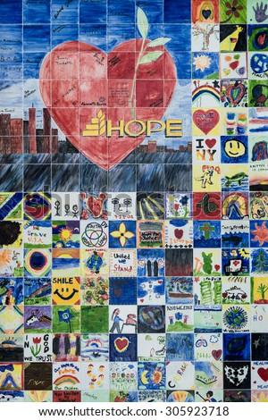 PROVIDENCE, RHODE ISLAND - JULY 24: Wall of Hope display on July 24, 2015 in Providence, Rhode Island - stock photo
