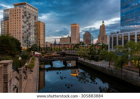 PROVIDENCE, RHODE ISLAND - JULY 24: Waterplace Park, the Woonasquatucket River and downtown Providence from the Martin Luther, Jr. Bridge in Providence, Rhode Island on July 24, 2015. - stock photo