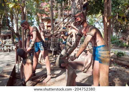 PROVINCE CHIANG MAI, THAILAND - FEBRUARY 11: Sculptures of gods and mythical creatures in temple Nantharam in province Chiang Mai, Thailand, February 11, 2014. Stage afterlife in hell - stock photo