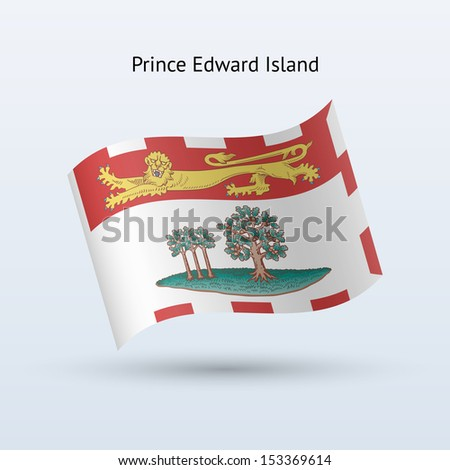 Province of Prince Edward Island flag waving form on gray background. See also vector version. - stock photo
