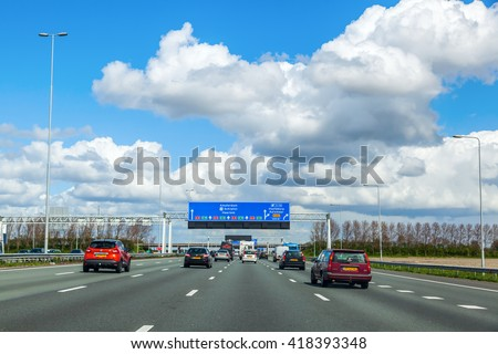 Province South Holland, Netherlands - April 23, 2016: A4 motorway. The A4 is 114 km long and was planned to connect Amsterdam with Brussels. Today there is still a gap of 11 km near Rotterdam