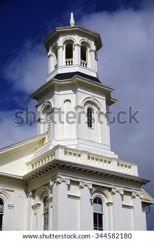 PROVINCETOWN, MA -2 OCTOBER 2015- Located on Commercial Street, the landmark Provincetown Library is on the National Register of Historic Places. - stock photo