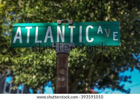 PROVINCETOWN-SEPTEMBER 14: Street sign for Atlantic Ave in Provincetown, Cape Cod , Massachussets, USA on September  14, 2014. - stock photo