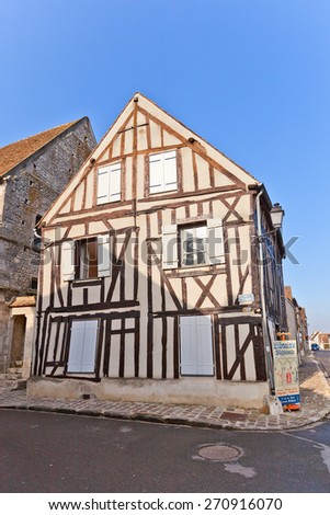 PROVINS, FRANCE - FEBRUARY 22, 2015: Medieval half-timbered (Fachwerk style) house in Provins town, France. UNESCO World Heritage Site