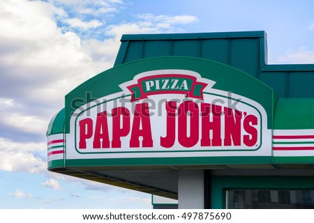 PROVO, UT/USA - OCTOBER 2, 2016: Papa John's restaurant exterior. Papa John's Pizza is the fourth largest take-out and pizza delivery restaurant chain in the United States.
