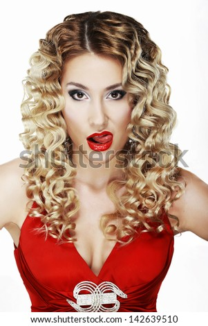 Provocative Classy Blond Licking her Red Sexy Lips - stock photo