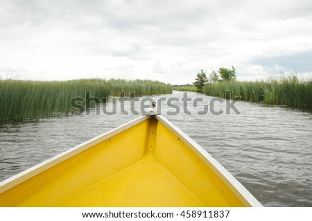 Prow boat on lake