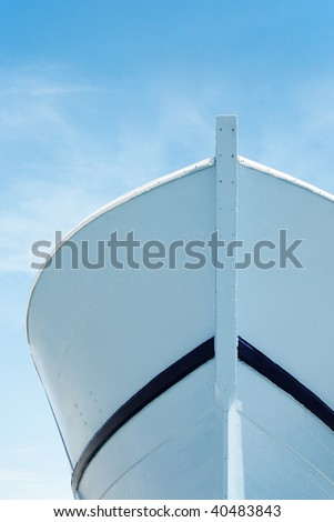 Prow of a fisherman's wooden boat from below - stock photo