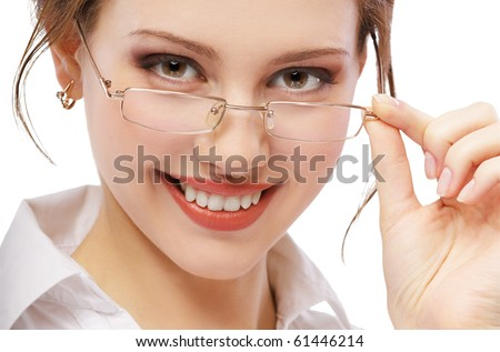 prttrait of beautiful red-haired girl in specs on white - stock photo