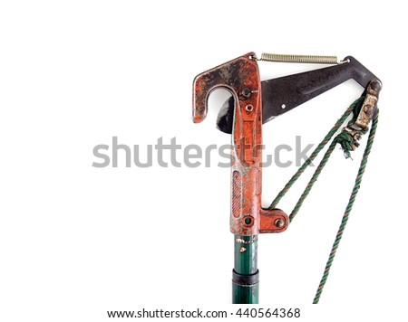 pruning shears (shears cut branches) isolated on white background, long-handled pruning shears for trimmers are high, tool for gardening - stock photo