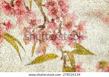Prunus cerasoides flowers in mulberry paper texture style vintage for background. - stock photo