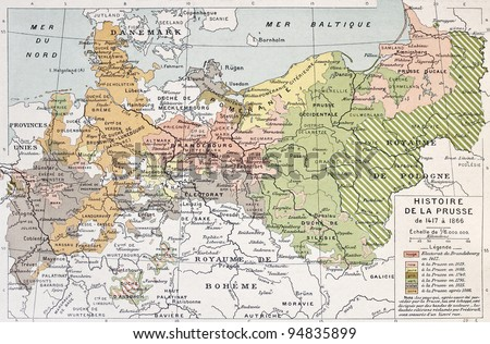 Prussia historical development map. By Paul Vidal de Lablache, Atlas Classique, Librerie Colin, Paris, 1894 - stock photo