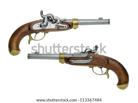 Prussian antique percussion pistol - stock photo