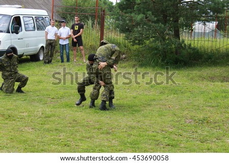 Przhevalskoe, Smolensk region, Russia: July 16, 2016: Special army forces performance at village festival