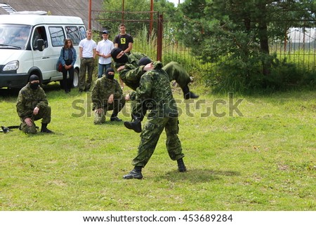 Przhevalskoe, Smolensk region, Russia: July 16, 2016: Special army forces performans at village festival