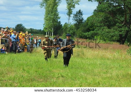 Przhevalskoe, Smolensk region, Russia: July 16, 2016: the 1-st partisan battle reconstruction