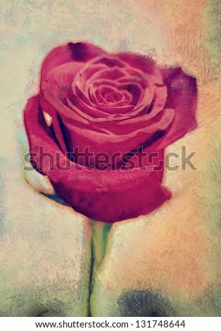 pseudo oil painting. rose - stock photo