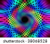 Psychedelic black light poster illustration with geometric spirals leading inward - stock photo