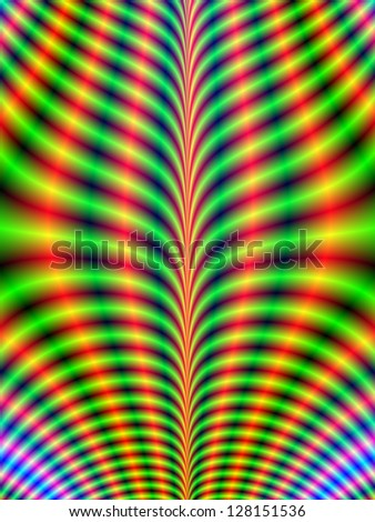 Psychedelic Breastplate / Digital abstract fractal image with a psychedelic design in green, blue and yellow.