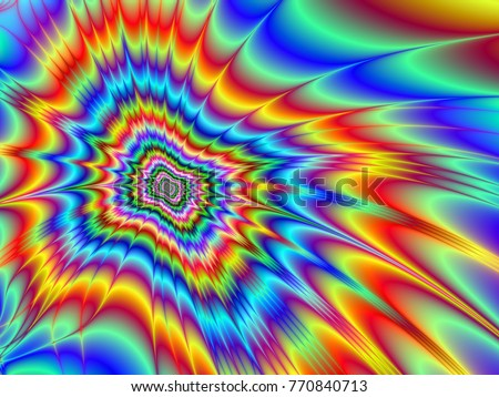 Psychedelic Explosion / An optically challenging fractal image with a psychedelic color explosion design in red blue green orange yellow and violet.