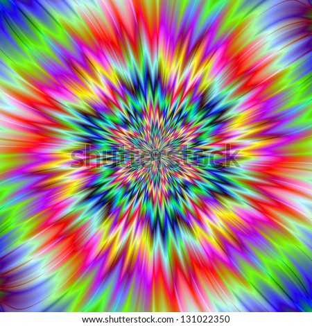 Psychedelic Explosion / Digital abstract fractal image with a psychedelic explosion design in green, pink, yellow and blue.
