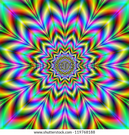 Psychedelic Flower/Digital abstract image with a psychedelic flower design in yellow, blue, green, red and pink. - stock photo