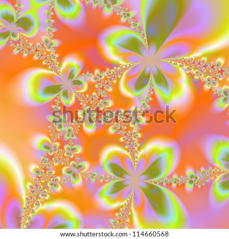 Psychedelic Flowers/Digital abstract image with a psychedelic floral design in orange, green and yellow.