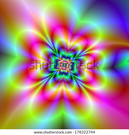 Psychedelic Four Leaf Clover / Digital abstract fractal image with a psychedelic four leaf clover design in pink, green, blue and yellow. - stock photo